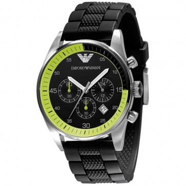 Emporio Armani Men's Chronograph Watch Black Silicone Strap Black Dial AR5865