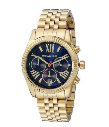 Michael Kors Ladies Lexington Chronograph Watch Gold Bracelet Blue Dial MK6206