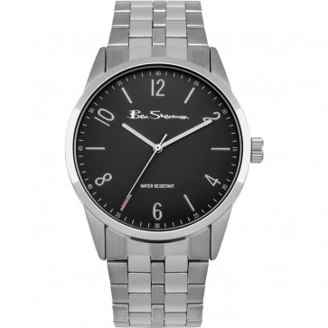 Ben Sherman Gents Mens Wrist Watch Black Face Silver Strap BS154