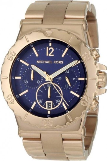 Michael Kors Ladies Dylan Chronograph Watch Rose Gold PVD Bracelet Blue Dial MK5410