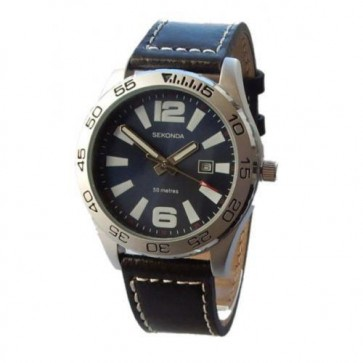 Sekonda Mens Watch Brown Leather Strap Blue Dial 3252