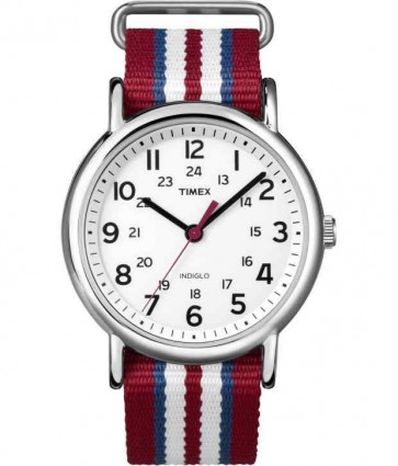 Timex Mens Indiglo Watch Striped Nylon Strap White Dial T2N746