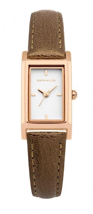 Karen Millen Ladies Wrist Watch Gold Dial Brown Leather Strap KM114TRG