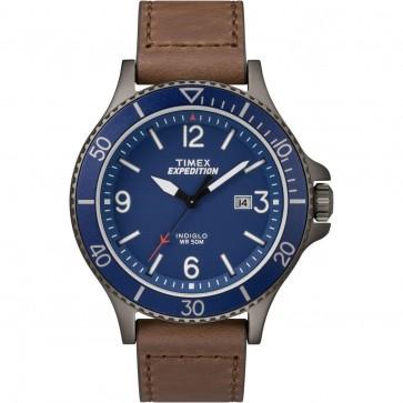 Timex Men's Gent's Quartz Watch With Blue Dial Brown Strap TW4B10700