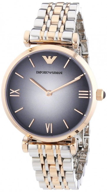 Emporio Armani Ladies Watch Gold Case Two Tone Bracelet Grey Dial AR1725