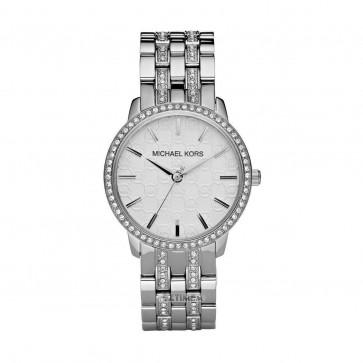 Michael Kors Glitz Ladies Womens Wrist Watch Silver Strap White Dial  MK3148