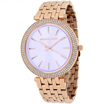 Michael Kors Darci Ladies Watch Rose Gold PVD Bracelet Purple Dial MK3400