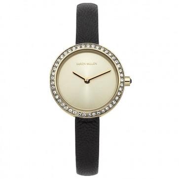 Karen Millen Womens Ladies Quartz Watch Gold  Black Leather Strap KM146BG