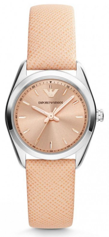 Emporio Armani Ladies Watch Beige Leather Strap Rose Gold Dial AR6032