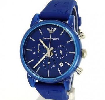 Emporio Armani Unisex Chronograph Watch Blue Silicone Strap Blue Dial AR1058