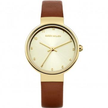 Karen Millen Ladies Womens Wrist Watch Brown Strap KM131TG