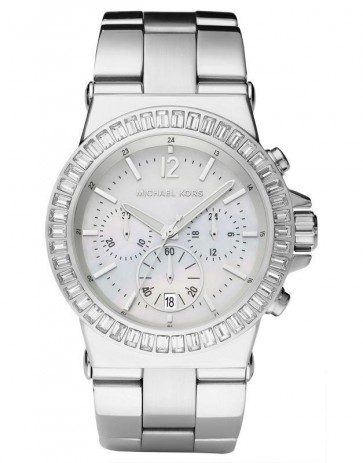 Michael Kors Ladies Dylan Chronograph Watch Stainless Steel Bracelet White Dial MK5411