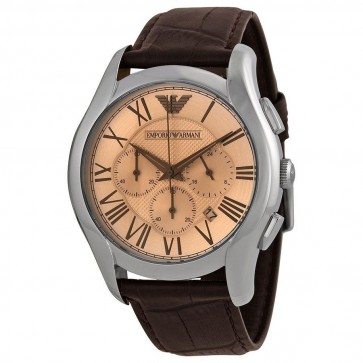 Emporio Armani Mens Chronograph Watch Brown Strap Bronze Dial AR1785