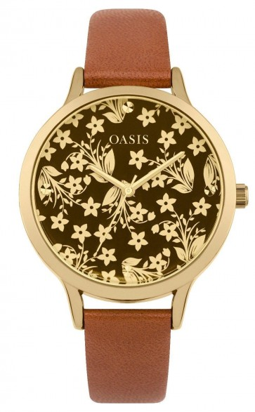 Oasis Womens Ladies Quartz Wrist Watch Gold Dial Analog Bronze Strap B1585