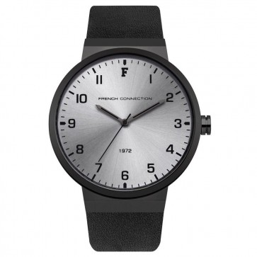 French Connection Mens Gents Wrist Watch Black Strap Silver Face FC1286BB