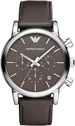 Emporio Armani Mens Chronograph Watch Brown Dial Brown Leather Strap AR1734