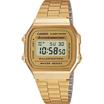 Casio Unisex Classic Watch Alarm Chronograph Gold Bracelet A168WG-9BWEF