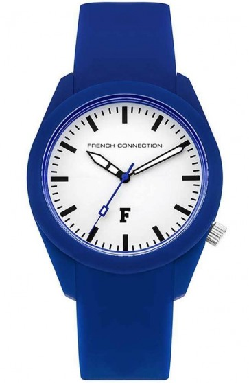 French Connection Womens Ladies Wrist Watch Silicone Blue Strap FC1297U