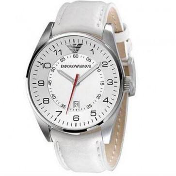 Emporio Armani Mens Watch White Leather Strap White Dial AR5862