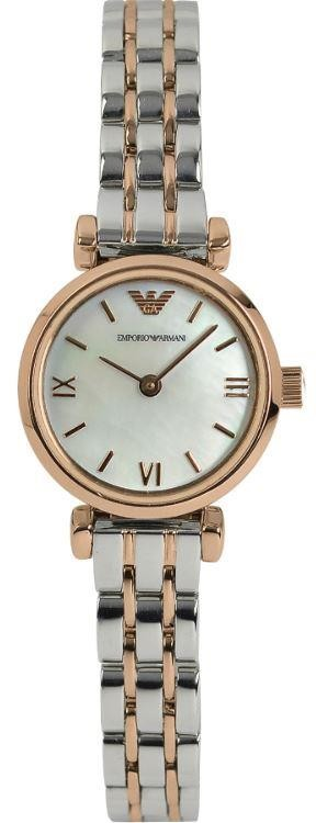 Emporio Armani Ladies Watch Two Tone Stainless Steel Strap White Dial AR1689