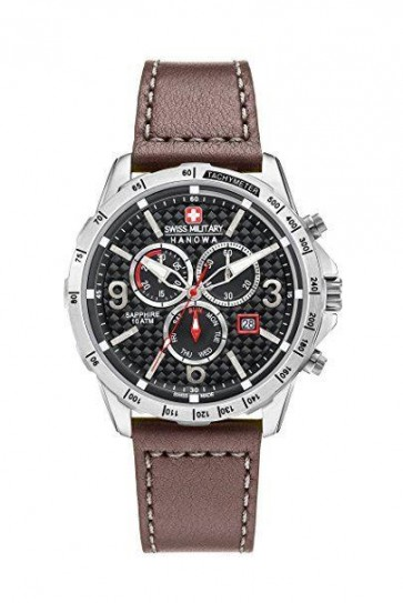 Swiss Military Mens Chronograp Watch Bown Leather Strap Black Dial 6-4251.04.007