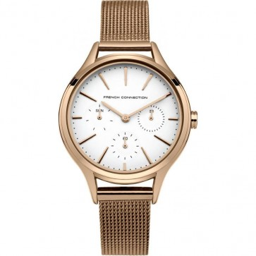 French Connection Womens Ladies Wrist Watch Rose Gold Strap White Face FC1273RGM