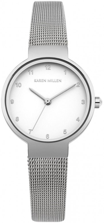 Karen Millen Womens Wrist Silver Strap White Face Watch KM160SM