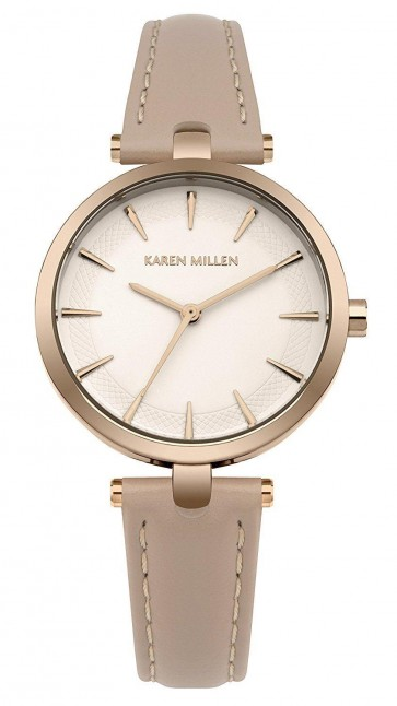 Karen Millen Ladies Womens Wrist Watch Beige Strap Gold Dial KM153CRG