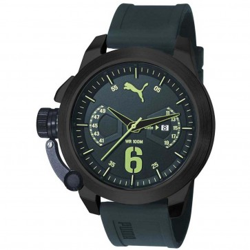 Puma Mens Advance Dark Green Silicone Strap Watch PU103781007