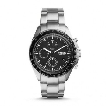 Fossil Mens Sport 54 Chronograph Watch Stainless Steel Strap Black Dial CH3026