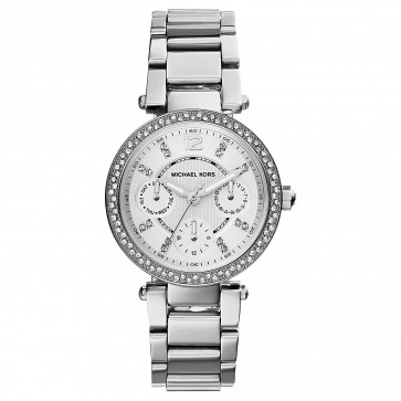 Michael Kors Mini Glitz Parker Ladies Watch Silver Dial Strap MK5615