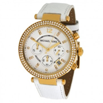 Michael Kors Parker Chronograph White Strap White Dial Ladies Watch MK2290