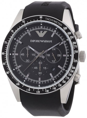 Emporio Armani Mens Chronograph Watch Black Silcone Strap Black Dial AR5985