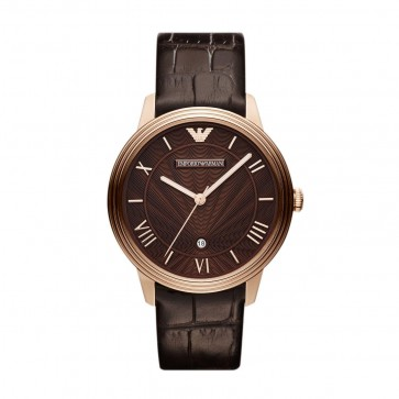 Emporio Armani Ladies Watch Rose Gold Brown Strap Brown Dial AR1613