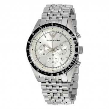 Emporio Armani Mens Chronograph Watch Stainless Steel Bracelet Silver Dial AR6073