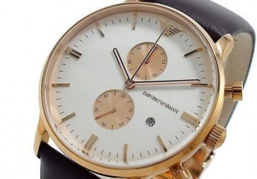 Emporio Armani Men's Classic AR0398 Brown Leather Quartz Watch with White Dial