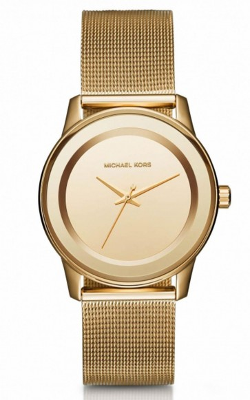 Michael Kors Kinley Ladies Watch Gold PVD Mesh Bracelet Gold Dial MK6295