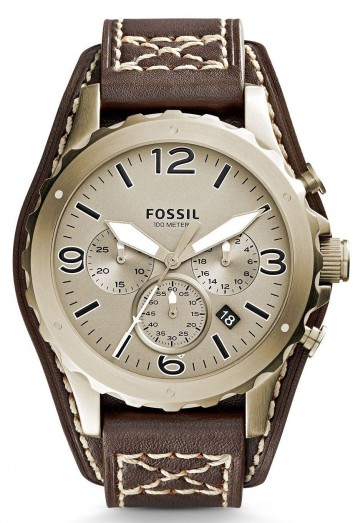 Fossil Mens Nate Chronograph Watch Brown Leather Cuff Strap JR1495
