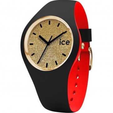 ICE Loulou Ladies Womens Watch Gold Glitter Face Black Strap 007238