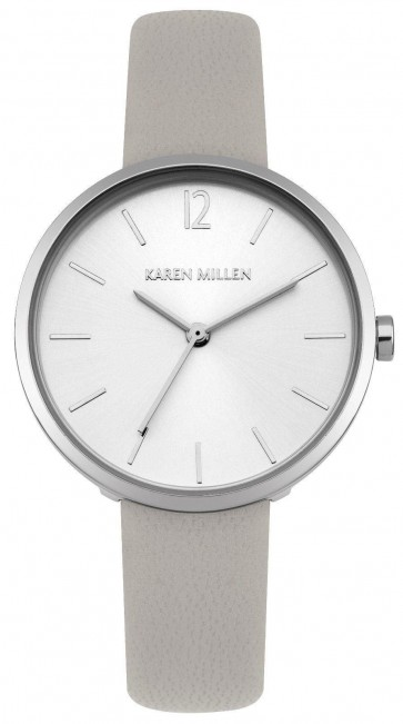Karen Millen Womens Wrist Watch Silver Face Grey Strap KM156S