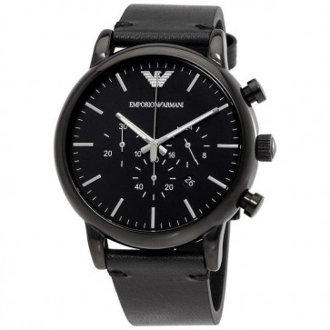 Emporio Armani Mens Gents Chronograph Watch Black Leather Strap Black Dial AR1918