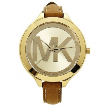 Michael Kors Thin Runway Ladies Watch Gold Dial MK Logo MK2326