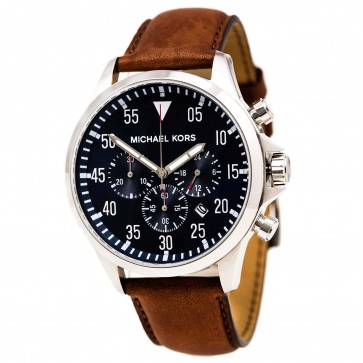Michael Kors Mens Gage Chronograph Watch Brown Leather Strap Blue Dial MK8362