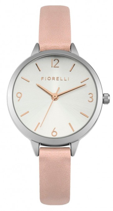 Fiorelli Ladies Womens Wrist Watch Pink Strap Silver Dial SF0002PS