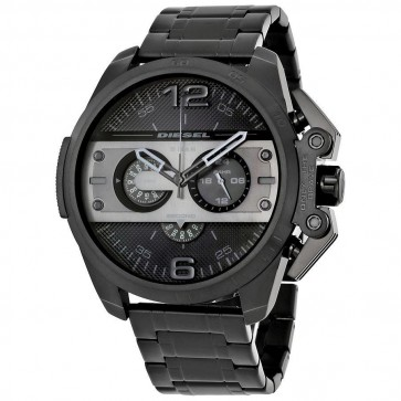 Diesel Mens Oversize Ironside Chronograph Watch Black Ionised DZ4362
