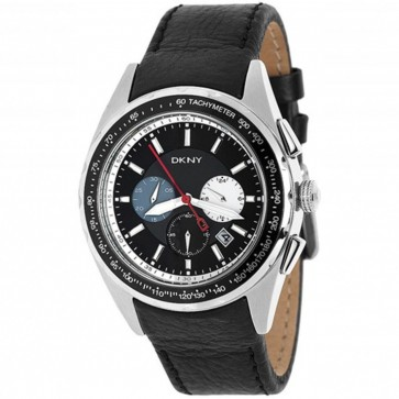 DKNY Mens Nolita Chronograph Watch Black Dial Black Strap NY1488