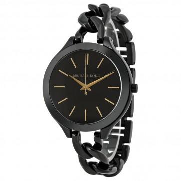 Michael Kors Ladies Runway Watch Blacki Ion Coated Stainless Steel Dial MK3317
