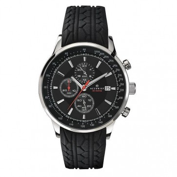 Accurist Mens Watch  Black Dial Chronograph Black Rubber Strap 7001