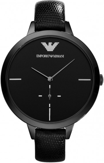 Ladies Emporio Armani Black Leather Strap Black Dial Watch AR7305