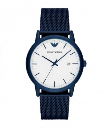 Emporio Armani Mens Gents Watch Blue Stainless Steel Strap White Dial AR11025